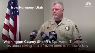 REAL Officer Punched Through Icy Pond To Rescue Fallen Boy. He Refuses To Be Called A Hero - Video
