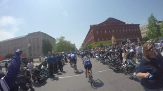 Police unity tour arrival at the national law enforcement memorial