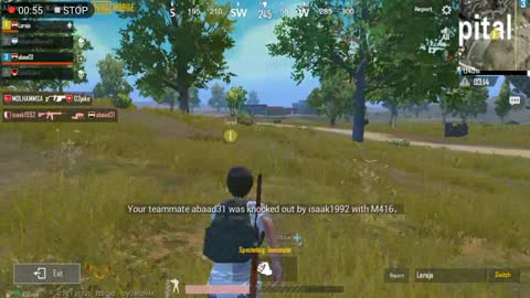 Pubg Mobile Game Running from 4 Enemies with Half Hp in Classic Match