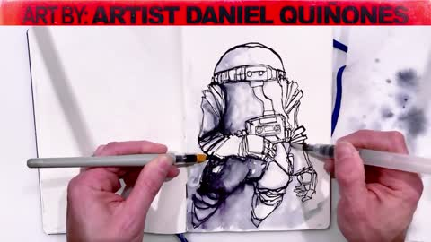 Real Time Pen & Ink, water brush two handed drawing of an astronaut without picking up my hands.