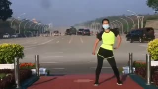 Myanmar Military Coup Takes Place Behind Woman Streaming Her Aerobics Class