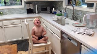 Little Boy Cries Because There Are No More Dishes To Wash