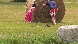 Hay bale flipping
