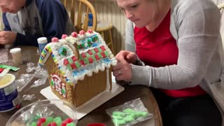 Dogs Eating Gingerbread House