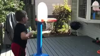 Kid pulls off epic trick shot, delivers epic celebration