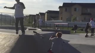 Collab copyright protection - skateboard bail hits kid on scooter - Video