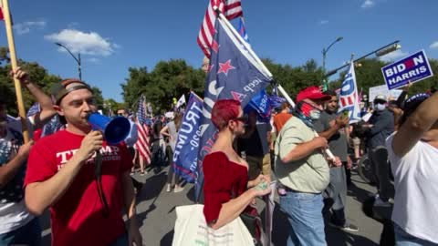 """STOP BEING BABIES"" Biden Supporters Chant At Trump Supporters Austin TX"