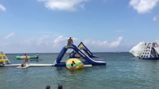 Epic Beach Floaty Stunt Is A WIN - Video