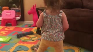 Daughter Likes to Vacuum Like Her Dad