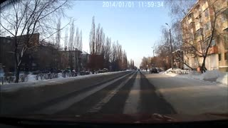 Russian Road Crossing Face Plant - Video