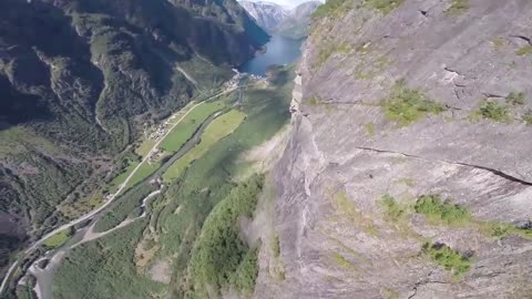 Wingsuit proximity flying over amazing Norway