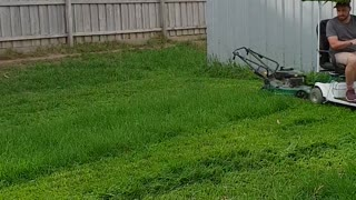 Behold The Ultimate Lawn Mowing Dadhack - Video