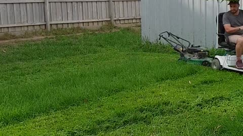Behold The Ultimate Lawn Mowing Dadhack