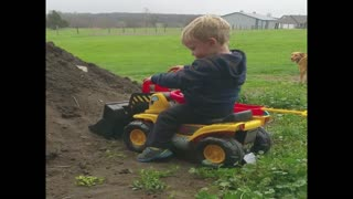 Little boy learns why construction work isn't fun