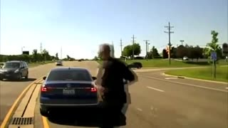He Jumped Into Moving Car To Save Another Driver!