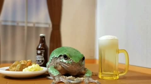 "Tiny frog visits tiny pub, gets ""toad-ally"" wasted!"