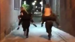 Two girls piggyback fail - Video