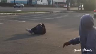 Skateboarder Hangs On Moving Car But Fails And Scrapes The Ground Hard - Video