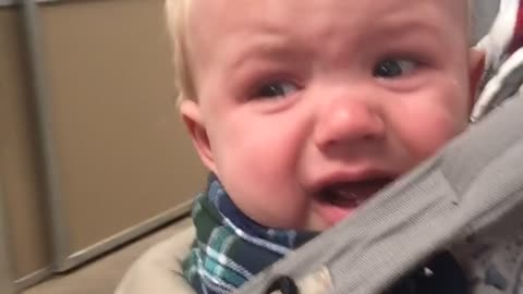 Baby terrified of super friendly horse