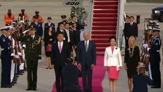 China's president touches down on U.S. East Coast - Video