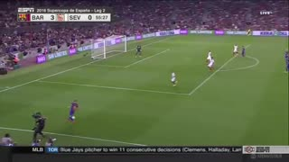 Messi Amazing Goal With Header Barcelona vs Sevilla - Video