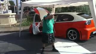 Granny dancing on car meeting party - Video
