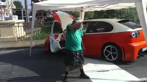 Granny dancing on car meeting party