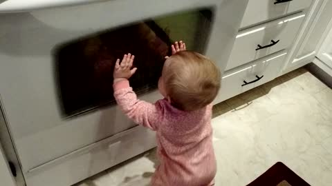Baby tries to communicate with reflection
