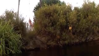 Epic rope swing fail into river