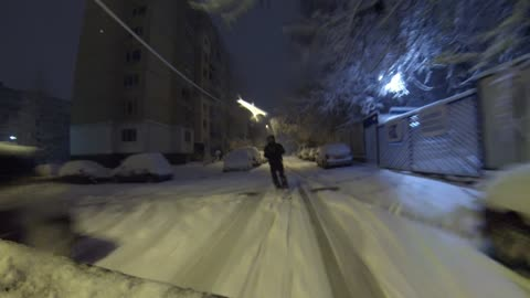 Heavy snowfall allows for urban skiing in Sofija, Bulgaria