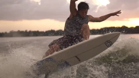 Super slow motion wakeboarding and wakesurfing