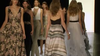 Feather light skin tone dresses at Badgley Mischka - Video