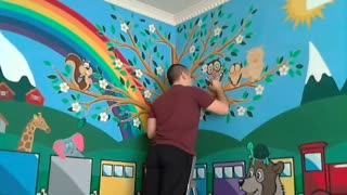 Time lapse: 70 hours of painting wall portrait in minutes - Video