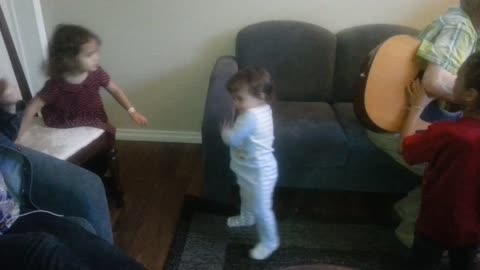 Baby is too shy to dance