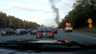 Car on Fire on Maryland highway - Video