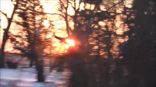 Driving Away From The Canadian Prairie Winter Sunset  - Video