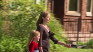 Judge Amy Coney Barrett leaves home