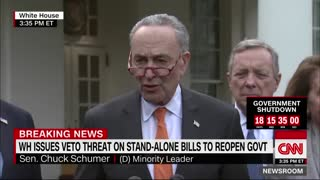 "Chuck Schumer claims Trump had a ""temper tantrum"""