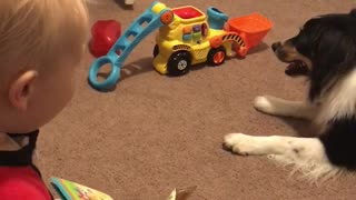 Dog and baby appear to have their own secret language