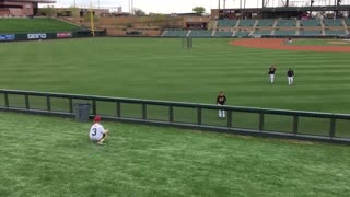 MLB players give kid experience of a lifetime - play catch in the outfield! - Video