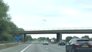 Paraglider in Close Shave Over Motorway as Engine Fails