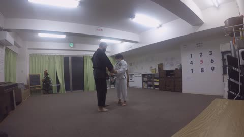 Two Hand Grab Defense With Outside Chest Block