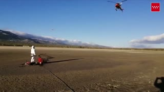 Helicopter Saves Sinking Cyclist From Muddy Bog