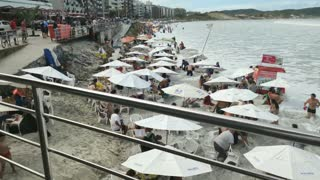 Strong Sea Wave Take Out People On Brazilian Beach