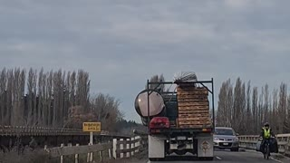 Wide Load Can't Squeeze Through Bridge