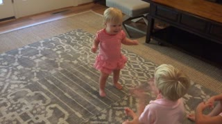 Young Girl Cries Tears Of Joy Over Sister's First Steps