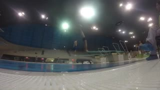 Indoor pool triple bellyflop - Video