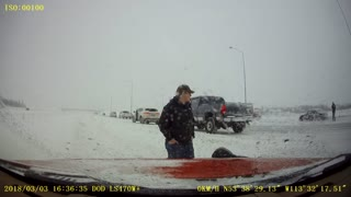 Driving into the Ditch on Icy Roads in Edmonton - Video