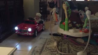 Baby Takes A Ride Around The Sofa In Toy Mercedes