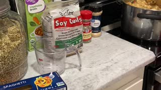 Plant Based Chicken Soup using Soy Curls